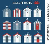 set beach colourful huts ... | Shutterstock .eps vector #1312318730