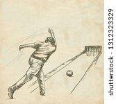 bowling   an sportman. an hand... | Shutterstock . vector #1312323329
