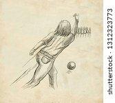 bowling   an sportman. an hand... | Shutterstock . vector #1312323773