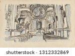 church interior. an hand drawn... | Shutterstock . vector #1312332869