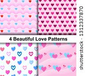 set of sweet love patterns with ... | Shutterstock .eps vector #1312337870
