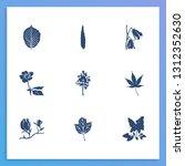 flora icon set and magnolia...