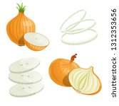 cartoon brown or yellow onions... | Shutterstock .eps vector #1312353656