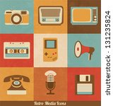 retro media icons | Shutterstock .eps vector #131235824