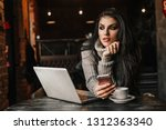 beautiful woman working with... | Shutterstock . vector #1312363340