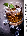 a glas with a rum  ice and lime ... | Shutterstock . vector #131236790