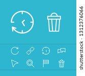 internet icons set with trash ...