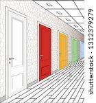 interior of multi colored doors ...   Shutterstock .eps vector #1312379279