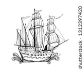 illustration with a ship ... | Shutterstock .eps vector #1312397420