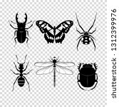 set of different insects on...   Shutterstock .eps vector #1312399976