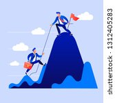 leader helps the team climb to...   Shutterstock .eps vector #1312405283