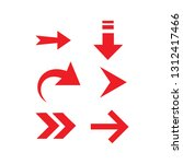 red vector arrow set. arrow.... | Shutterstock .eps vector #1312417466