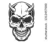 skull in vintage stule with... | Shutterstock . vector #1312457000