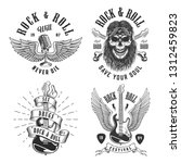 rock and roll emblems set on... | Shutterstock . vector #1312459823