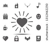 shining heart rays icon. simple ...
