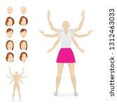 female cartoon style character... | Shutterstock .eps vector #1312463033