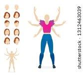 female cartoon style character... | Shutterstock .eps vector #1312463039