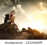 young tourist with backpack... | Shutterstock . vector #131246309