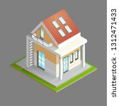isometric. house with a red... | Shutterstock .eps vector #1312471433