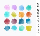 set of colorful watercolor hand ... | Shutterstock .eps vector #1312491233