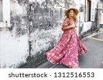 boho girl in maxi dress and... | Shutterstock . vector #1312516553