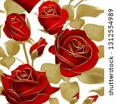 seamless pattern with red roses ... | Shutterstock .eps vector #1312554989