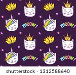 kittens  stars  meow on a dark... | Shutterstock .eps vector #1312588640
