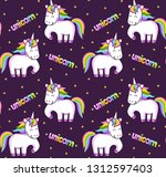 cartoon rainbow unicorns.... | Shutterstock .eps vector #1312597403