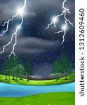 a thunderstorm in nature scene... | Shutterstock .eps vector #1312609460
