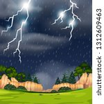 a thunderstorm in nature scene... | Shutterstock .eps vector #1312609463