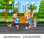 happy two boy running on the... | Shutterstock .eps vector #1312614500