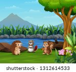 small animal playing by the... | Shutterstock .eps vector #1312614533