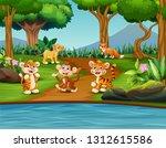 cartoon happy wild animals in a ... | Shutterstock .eps vector #1312615586