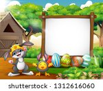 happy rabbit and chicken with... | Shutterstock .eps vector #1312616060