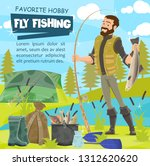 fisher catching fish  tackle... | Shutterstock .eps vector #1312620620