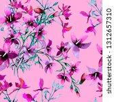 pink violet wild flowers... | Shutterstock . vector #1312657310