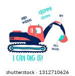 hand drawing digger...   Shutterstock .eps vector #1312710626