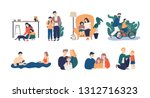 bundle of happy loving family... | Shutterstock .eps vector #1312716323