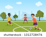 boys kids playing soccer... | Shutterstock . vector #1312728476