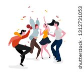 dancing party group illustration | Shutterstock .eps vector #1312731053