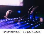 audio headphones on the... | Shutterstock . vector #1312746236
