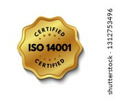 iso 14001 certified golden... | Shutterstock .eps vector #1312753496