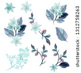 collection of vector flowers in ... | Shutterstock .eps vector #1312758263