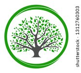logo of a tree with round green ... | Shutterstock .eps vector #1312760303