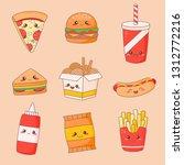 fast food junk kawaii cute face ...   Shutterstock .eps vector #1312772216