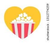 popcorn box icon. red yellow... | Shutterstock .eps vector #1312774259