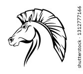 horse profile head with cut... | Shutterstock .eps vector #1312777166