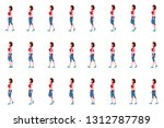 girl walk cycle animation... | Shutterstock .eps vector #1312787789
