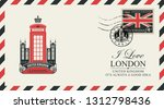 vector postcard or envelope... | Shutterstock .eps vector #1312798436