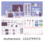 female young scientist working... | Shutterstock .eps vector #1312799573
